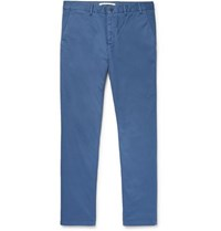 Norse Projects Aros Slim Fit Stretch Cotton Twill Trousers Blue