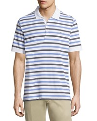 Callaway Short Sleeve Striped Polo Shirt Bright White Blue Black