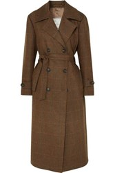 Giuliva Heritage Collection Christie Checked Wool Trench Coat Brown