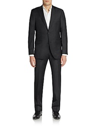 Saks Fifth Avenue Black Slim Fit Solid Woven Wool Suit Solid Charcoal