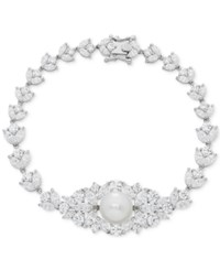 Arabella Cultured Freshwater Pearl 10Mm And Swarovski Zirconia Orbital Link Bracelet In Sterling Silver White