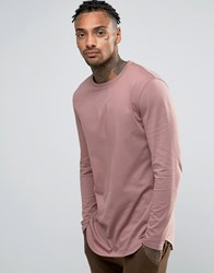 Asos Relaxed Longline Long Sleeve T Shirt With Curve Hem In Pink Pink