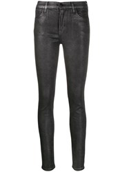 J Brand Faux Leather Skinny Trousers Silver