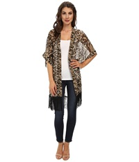 Steve Madden Leopard Fringed Topper Brown Women's Clothing