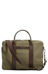 Shinola Men's Computer Briefcase Green Olive Deep Brown