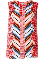 Kenzo Chevron And Diagonal Stripes Top Red
