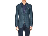 Isaia Sanita Plaid Wool Blend Two Button Sportcoat Olive