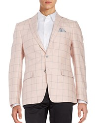 Tallia Orange Linen Windowpane Sportcoat Pink
