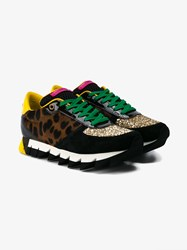 Dolce And Gabbana Glitter Embellished Pony Skin Suede Sneakers Multi Coloured Green Black Brown Leopard Yell