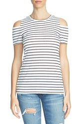1.State Women's Stripe Cold Shoulder Tee