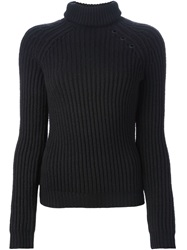 Anthony Vaccarello Roll Neck Ribbed Sweater Black