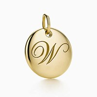 Tiffany And Co. Notes Alphabet Disc Charm In 18K Gold Small. Letters A Z Available.