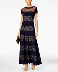 R And M Richards Petite Sequined Lace Striped Gown Navy Taupe
