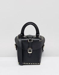 Melie Bianco Vegan Leather Boxy Across Body Bag With Buckle And Studding Black