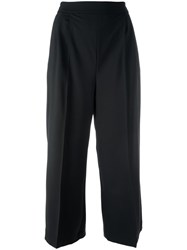 Msgm Cropped Wide Legged Trousers Black