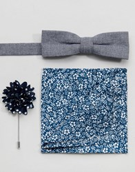 Peter Werth Bow Tie Pocket Square And Boutoninere Blue