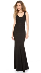 Herve Leger Ellen Sleeveless Maxi Dress Black