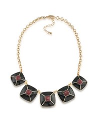 1St And Gorgeous Enamel Pyramid Pendant Statement Necklace In Garnet Black Gold