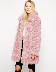 Unreal Fur De Fur Coat In Dusty Pink Dustypink