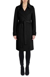 Badgley Mischka Double Face Wool Blend Wrap Front Coat Black