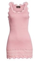 Rosemunde Silk And Cotton Rib Knit Tank Foxglove Pink