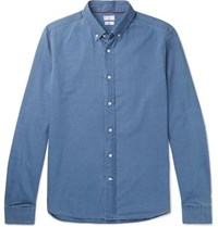 Brunello Cucinelli Button Down Collar Cotton Chambray Shirt Blue