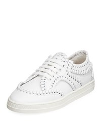 Alaia Whipstitched Platform Sneakers White