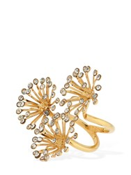 Ca And Lou Flora Crystal Embellished Ring Gold