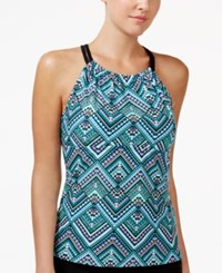 Go By Gossip Solar Printed High Neck Racerback Tankini Top Women's Swimsuit Teal Black