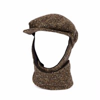 L For Lazarus Livvy Echapeau Tweed Hat And Scarf Khaki Green Black Brown