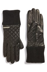 Women's Michael Michael Kors Knit Cuff Quilted Leather Gloves