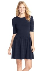 Women's Eliza J Textured Sweater Fit And Flare Dress Navy