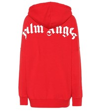 Palm Angels Logo Cotton Jersey Hoodie Red