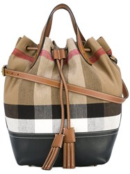 Burberry House Check Bucket Tote Women Cotton Jute Leather One Size Nude Neutrals