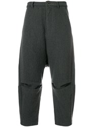 Individual Sentiments Cropped Trousers Cotton Linen Flax Nylon Steel Grey