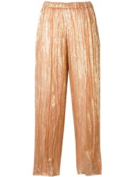 Forte Forte Pleated Metallic Trousers Gold