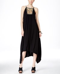 Inc International Concepts Petite Embellished Handkerchief Hem Maxi Dress Only At Macy's Deep Black