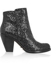 Schutz Glitter Finished Leather Boots Black