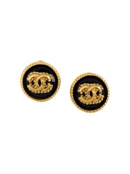 Chanel Vintage Logo Earrings Metallic