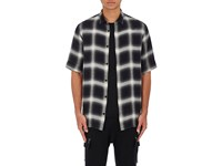 Helmut Lang Men's Ombre Plaid Flannel Short Sleeve Shirt Black White
