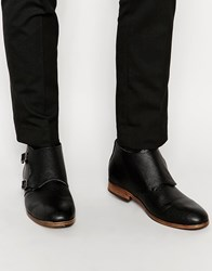 New Look Double Monk Strap Boots Black