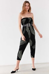 Silence And Noise Jerry Strapless Balloon Jumpsuit Black Multi
