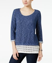 Styleandco. Style Co. Crochet Hem Top Only At Macy's Denim Blue
