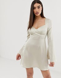 Prettylittlething Skater Mini Dress With Cup Detail In Cream Satin Beige