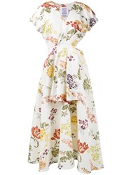 Rosie Assoulin Floral Print Cutout Dress Women Silk Cotton Viscose 8 White