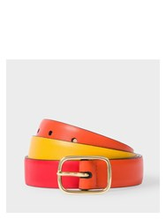 Paul Smith Men's Burnt Orange Red And Yellow Colour Block Leather Belt