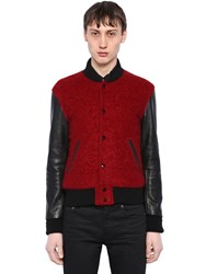 Saint Laurent Leather And Brushed Wool Teddy Jacket Black Red