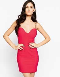 Rare Bodycon Dress With Spike Strap Coral