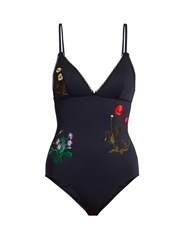 Stella Mccartney Botanical Embroidered Swimsuit Blue Print