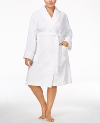 Charter Club Plus Size Super Soft Shawl Collar Short Robe Only At Macy's Bright White